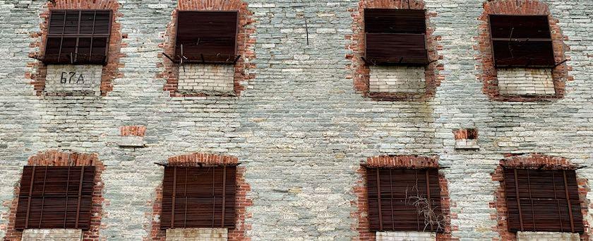 Broken windows at sea fortress Patarei in Tallinn (Estonia)