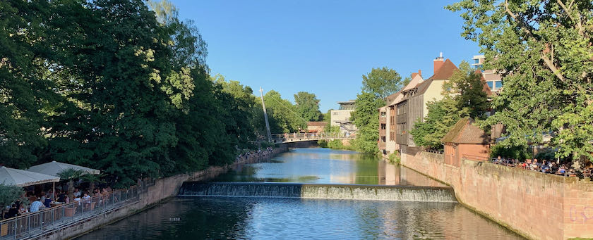 Summer day at the Pegnitz in Nuremberg (Germany)