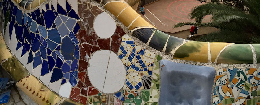 Balcony mosaic wall (seen at Parc Güell, Barcelona)