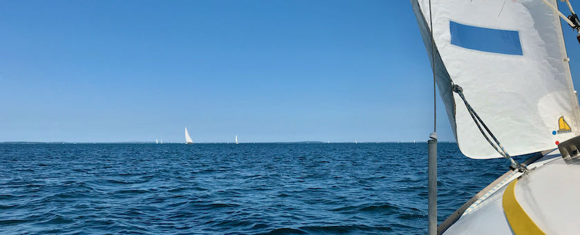 View from a sailing ship across the water