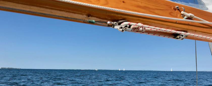 View from a sailing ship under the boom