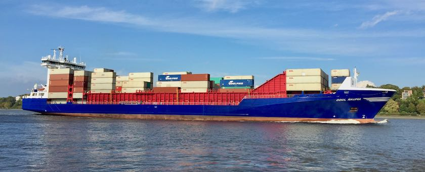 Container ship sailing on the Elbe (nearby Hamburg, Germany)