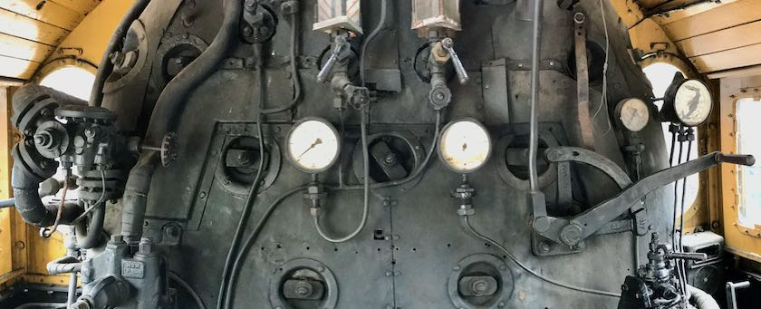Extract of the driver's cabin of a steam locomotive (seen at Hungarian Railway Museum, Budapest)