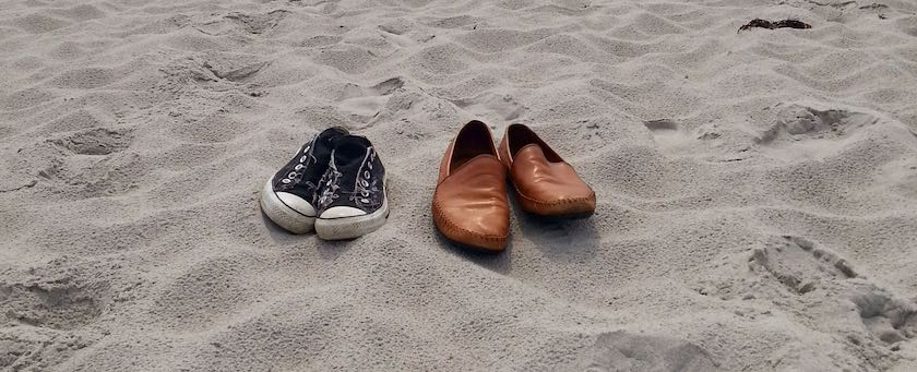Shoes being on the beach